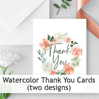 Watercolor Thank You Card Printables
