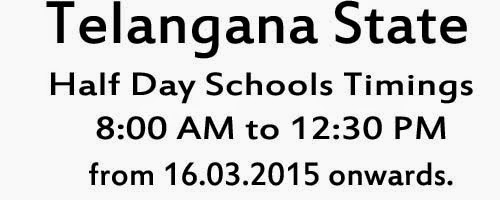 TS Half Day Schools from March 8th Timings Time Table Telangana