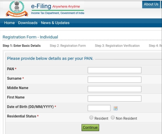 How to create Account Income Tax For return file india