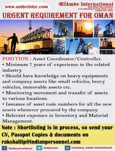 Asset Coordinator / Controller Jobs in Oman - Ambe International