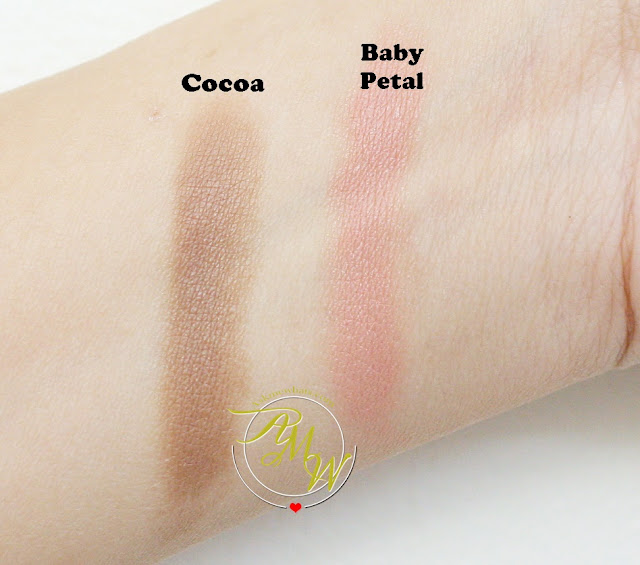 a swatch photo of Pixi By Petra MultiBalm 2-in-1 Cheek & Lip shades 58 Baby Petal and 59 Cocoa