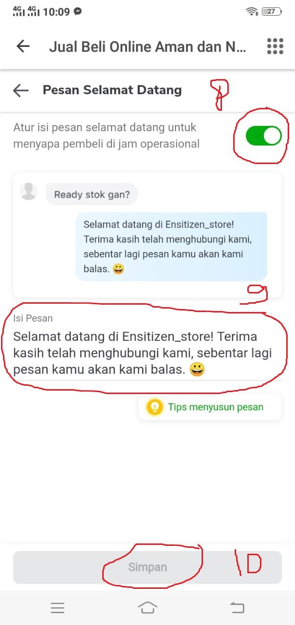 Mengatur Balasan Otomatis di Chat Tokopedia