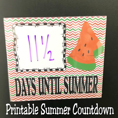 """Make the morning """"wake up"""" a little easier each day with these School countdown to summer printables. Four printables are available to easily make a dry erase countdown that your kids will love to use to countdown to summer with."""