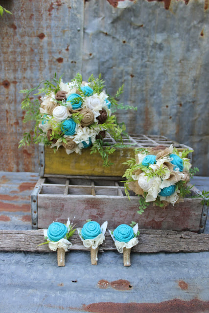 rustic burlap bouquet with greenery
