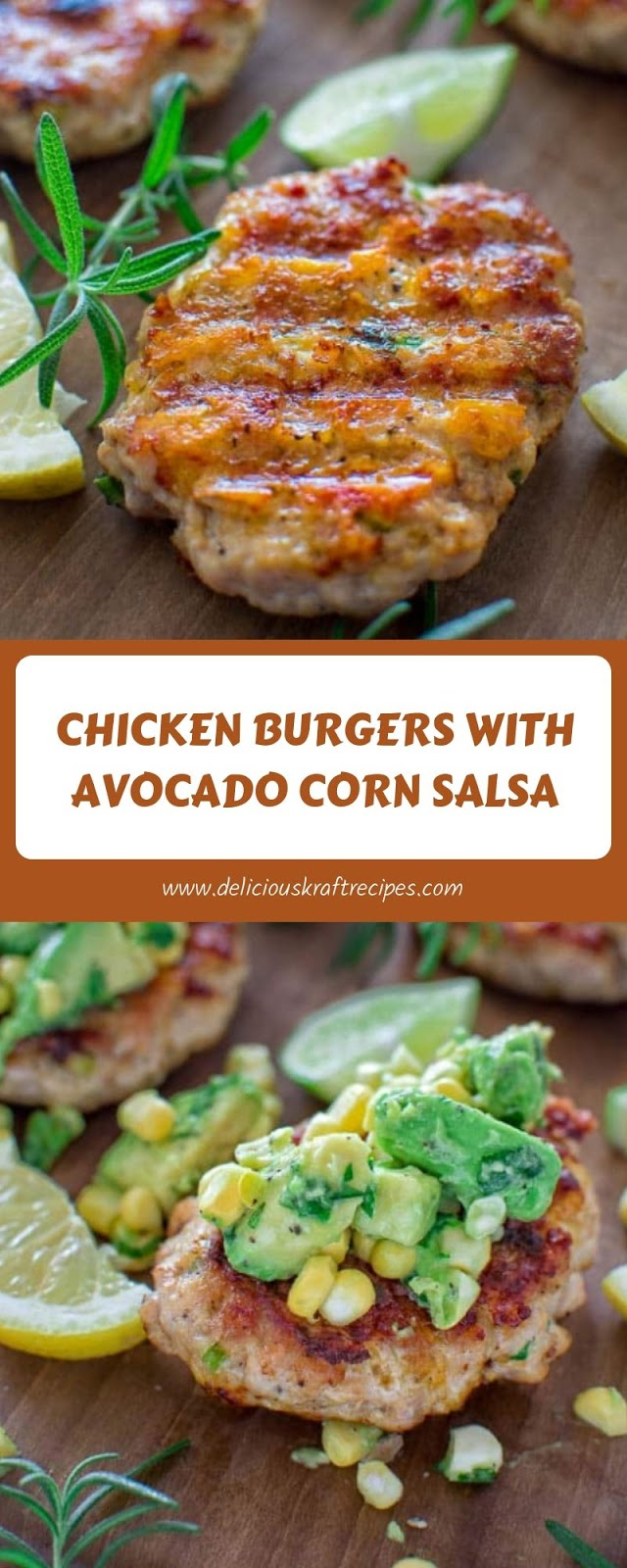 CHICKEN BURGERS WITH AVOCADO CORN SALSA