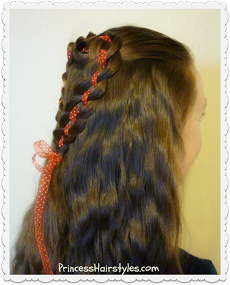 Heart hair tutorial. 4 strand rosette half up half down hairstyle.
