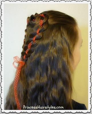 Heart hair tutorial. 4 strand rosette half up half down hairstyle.