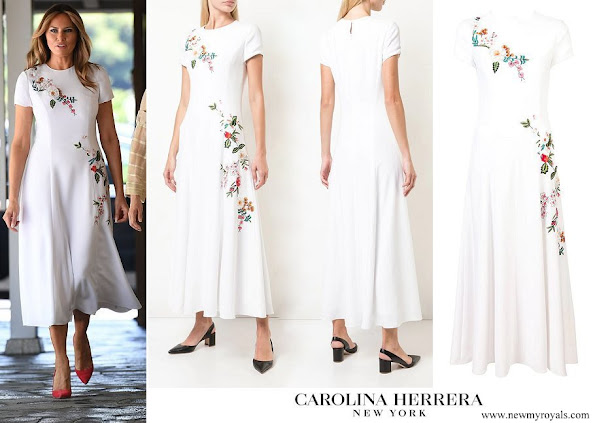 Melania Trump wore CAROLINA HERRERA floral embroidered dress