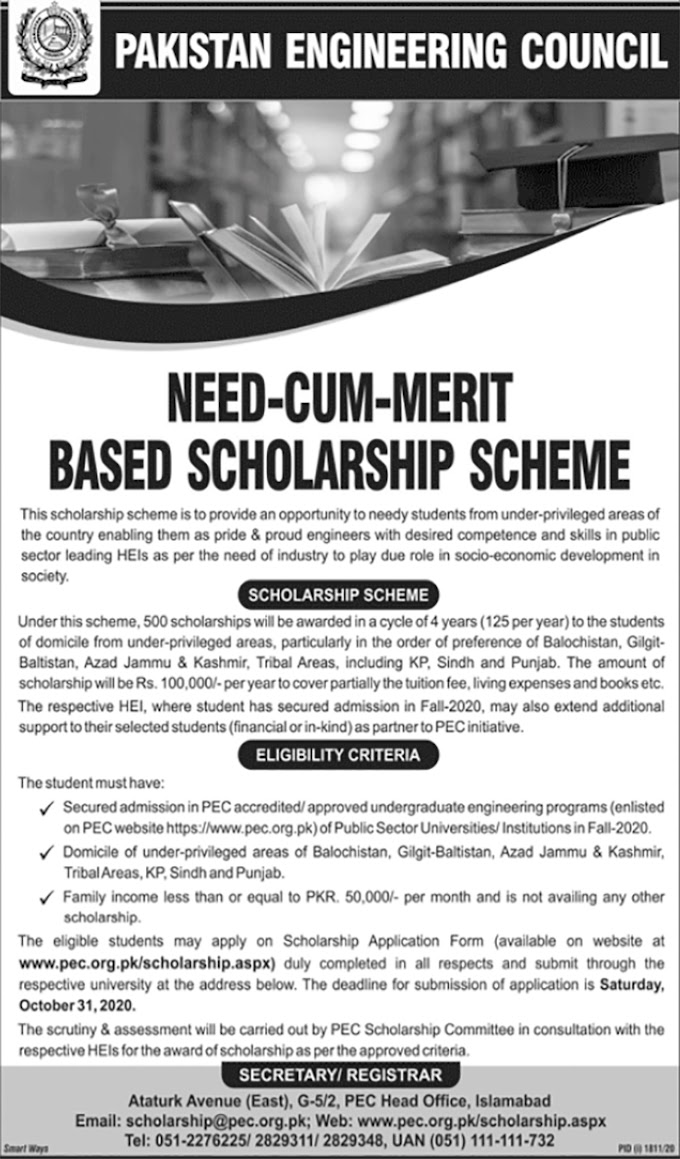 JOBS | Need Cum Merit Based Scholarship Scheme (PEC)