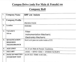 SRF Limited Recruitment | ITI Campus Placement Drive At Govt. Divisional ITI Govindpura, Bhopal, Madhya Pradesh