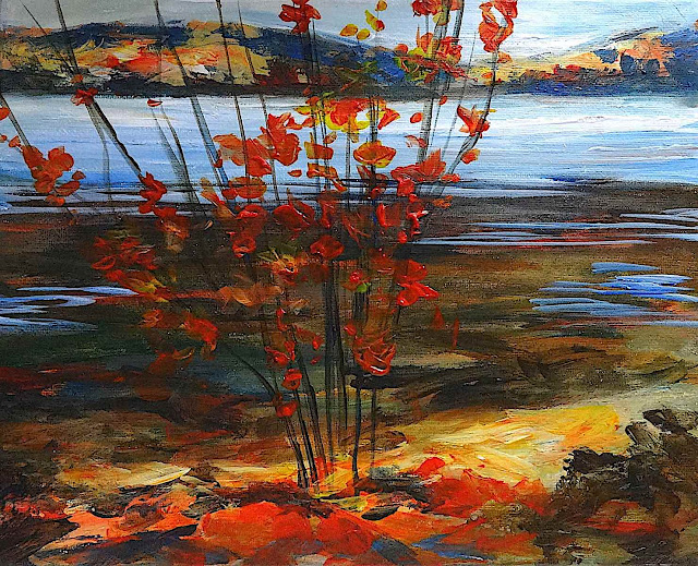 a Tom Thomson painting, red bush by a river