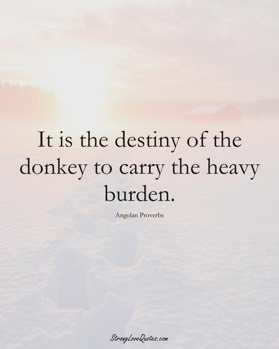 It is the destiny of the donkey to carry the heavy burden. (Angolan Sayings);  #AfricanSayings