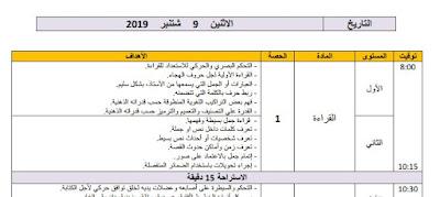 نموذج مذكرة يومية خاصة بالأسبوع الأول من التقويم التشخيصي الأول و الثاني