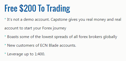 Capstone $200 Forex No Deposit Bonus - FXCGECN