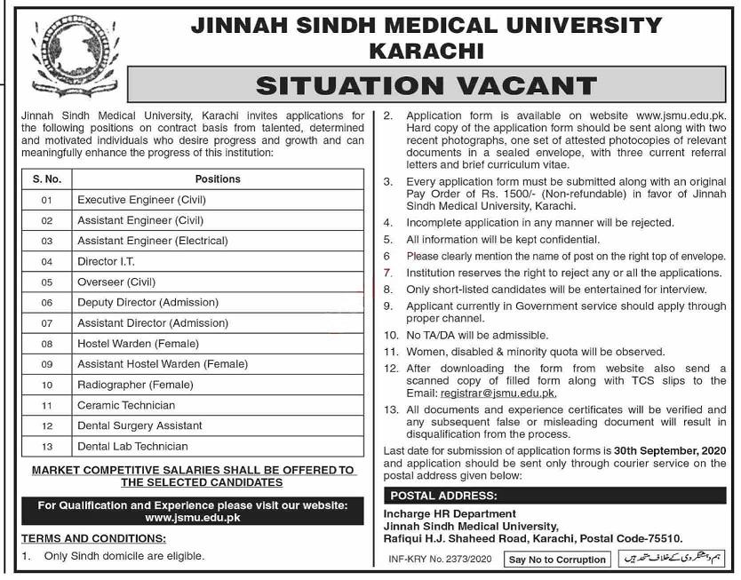 Latest Jinnah Sindh Medical University Management Posts Karachi 2020