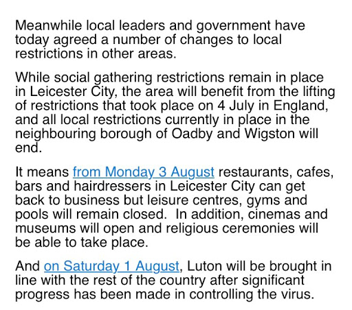 Relaxing of restrictions in Luton and Leiceste