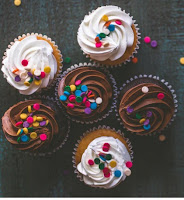 Different types frosted cupcake