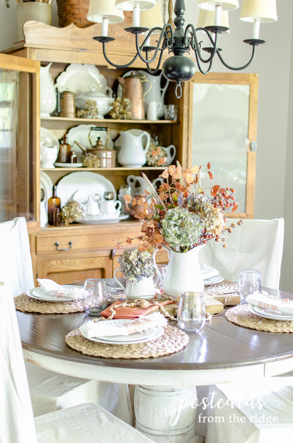 fall dining table with subtle textures and soft fall colors