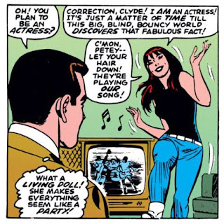 Amazing Spider-Man #43, John Romita, as Peter Parker watches, Mary Jane dances with the TV on in the background, they are playing our song