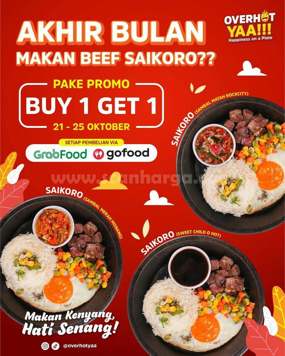 Promo Overhot Yaa Buy 1 Get 1 Setiap Pembelian via Gofood dan Grabfood