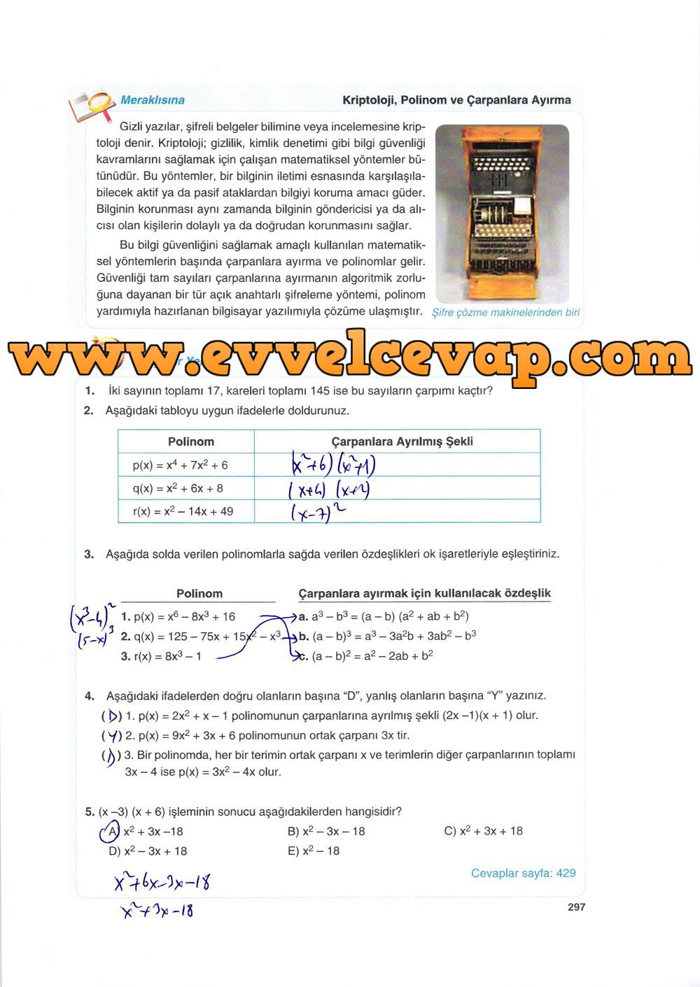 10. Sınıf Matematik Tuna Yayınları Ders Kitabı 297. Sayfa Çözümleri