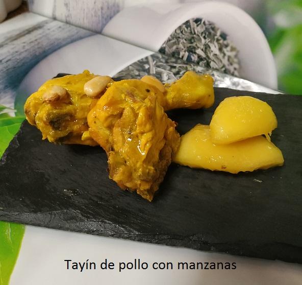Tayín de pollo con manzanas