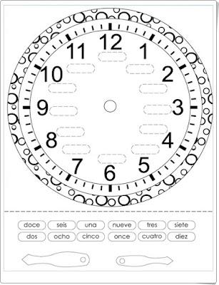 Reloj de agujas para componer Matemáticas de 1º y 2º de Primaria