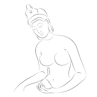 simple line art sigiri apsara outline art women