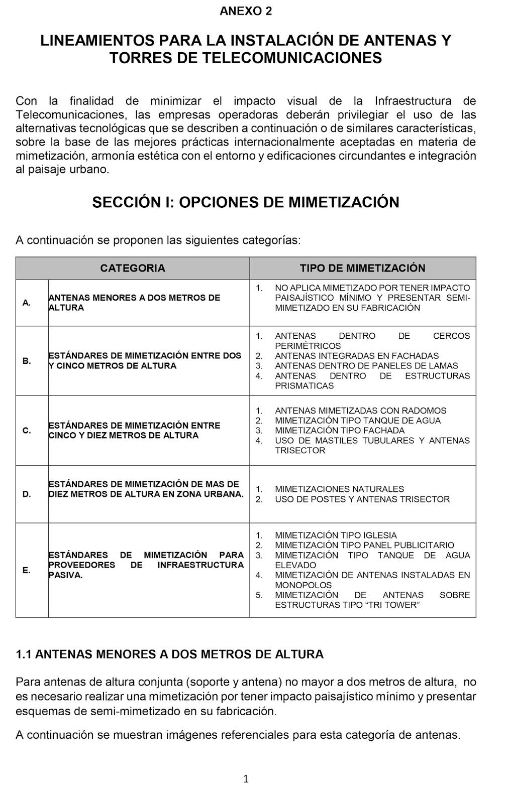 LINEAMIENTOS PARA LA INSTALACIÓN DE ANTENAS Y TORRES DE TELECOMUNICACIONES
