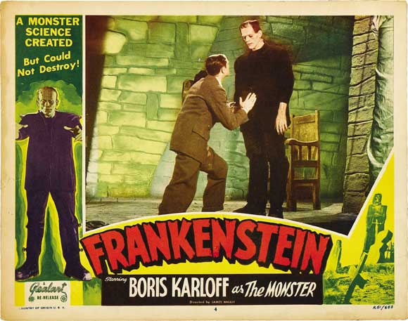 Image: Lobby card for Frankenstein, universal, 1931. Actors: Colin Clive and Boris Karloff. Author: Universal Studios, re-released by Realart in 1951. Public domain