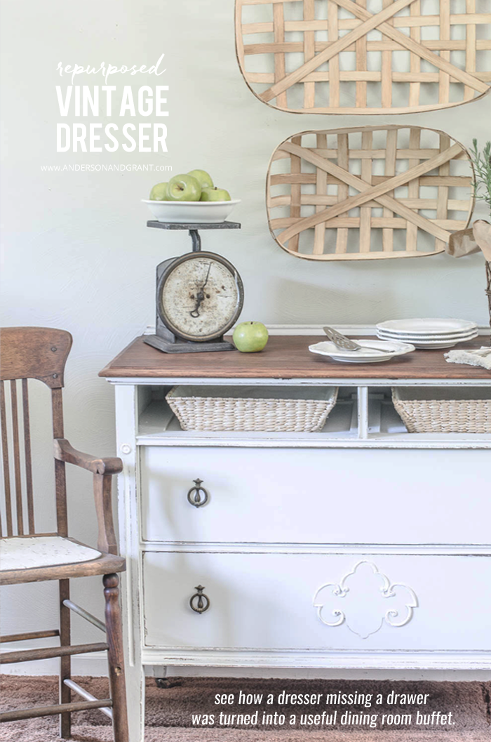 See how a vintage dresser that was missing a drawer was turned into a stylish dining room buffet.  |  www.andersonandgrant.com