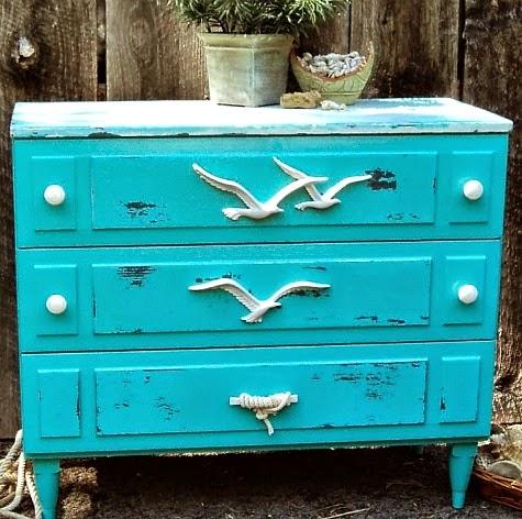 distressed blue coastal dresser