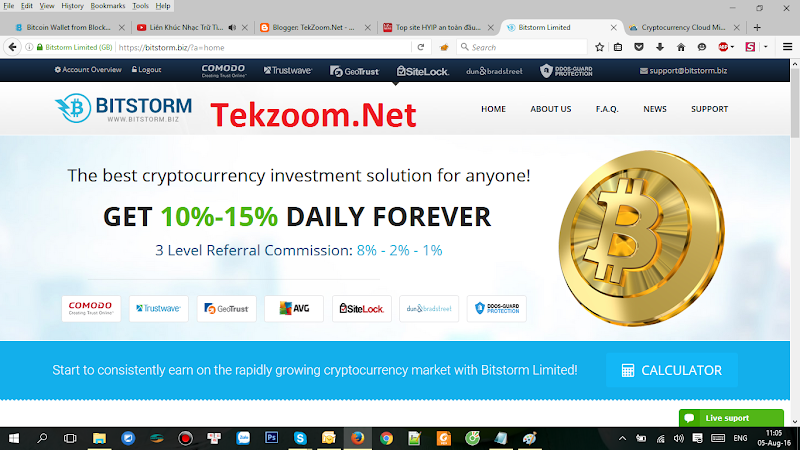 [SCAM][Bitstorm] - PAY - Min Dep 0.001 BTC - Min Pay 0.0001 BTC - Lãi 10-15% hằng ngày mãi mãi - Ko được rút vốn