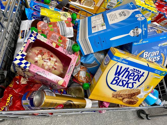 An Aldi trolley full of bargains to feed and look after the family. Includes cereal, crisps, soap, baby pouches, beans, porridge and more
