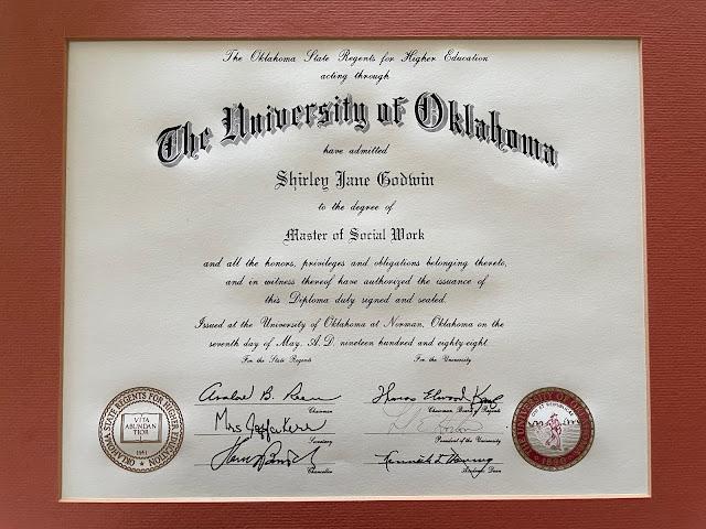 Shirley Godwin's Master's Degree Diploma