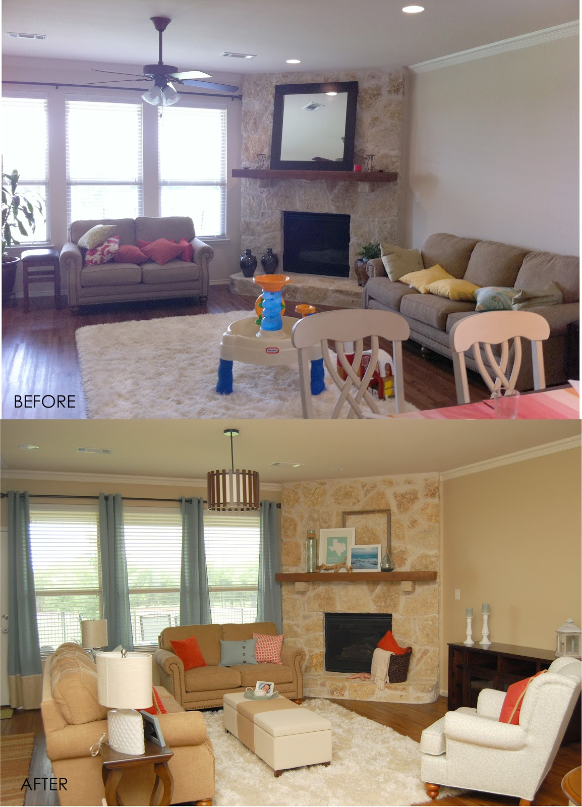 Style With Wisdom: Coral And Blue Living Room