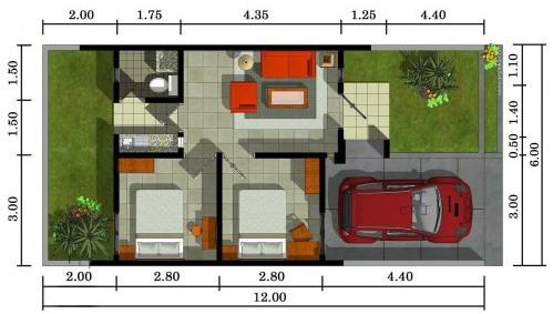 denah rumah 1 lantai tipe 36