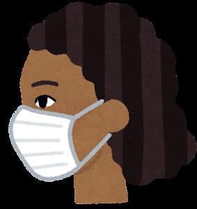 マスクを付けた人の横顔のイラスト(黒人女性)