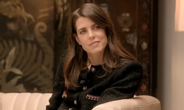 Charlotte Casiraghi wore a black tweed jacket with gold buttons from Chanel. Fanny Arama, Camille Laurens and actress Lyna Khoudri