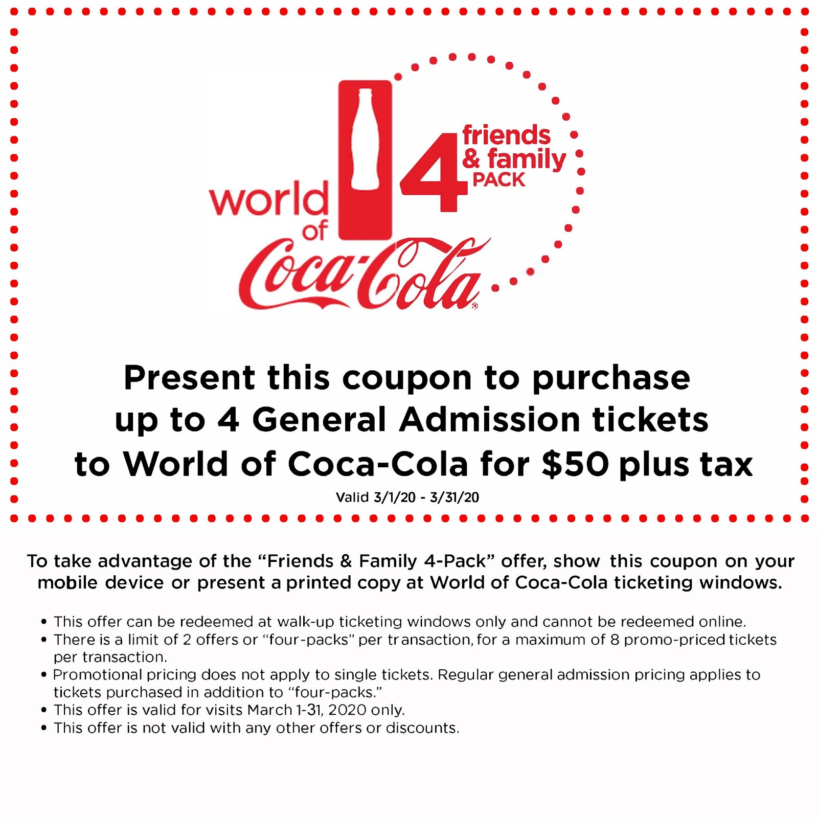 World of Coca-Cola Friends & Family Four-Pack Ticket Offer From March 1st through March 31st