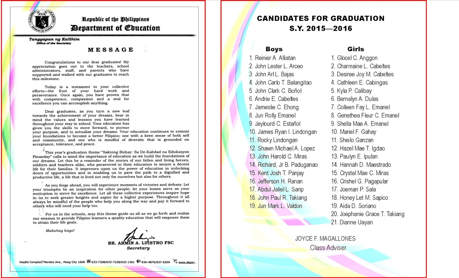 2015 2016 Graduation Program New Template DepEd LP's