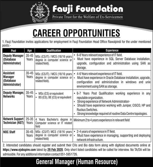 Jobs in Fauji Foundation Latest Advertisement 2020