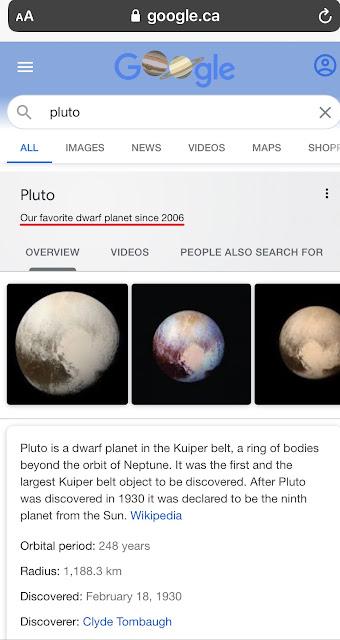 Oeuf de Pâques de Google : Pluto
