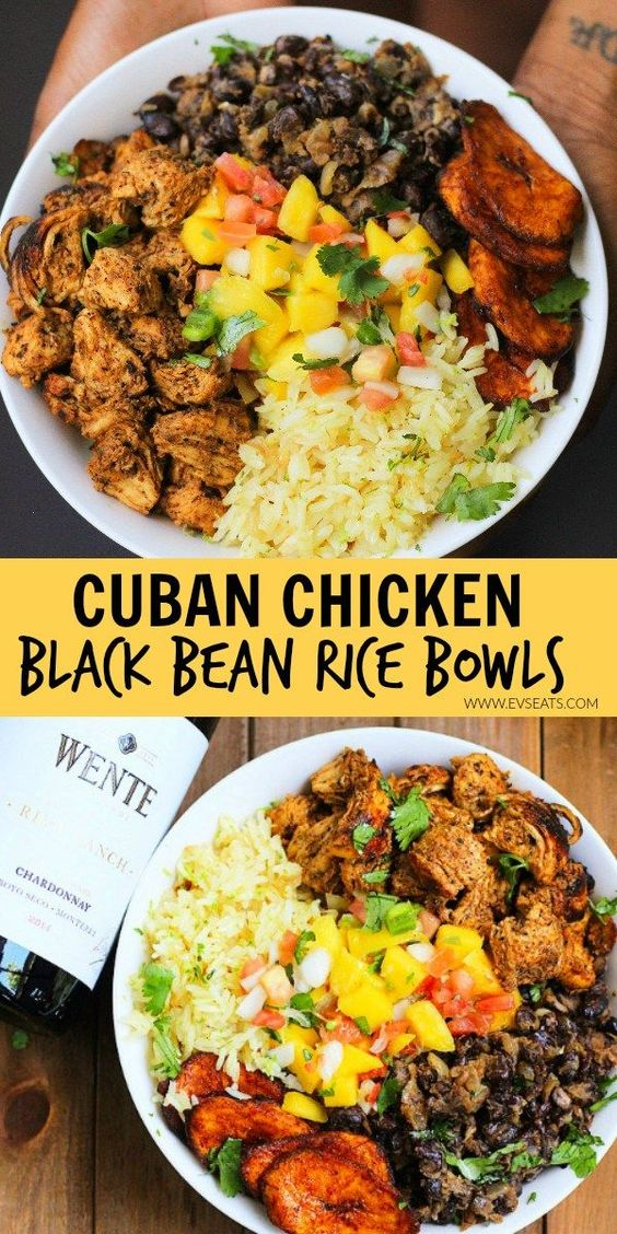Cuban Chicken & Black Bean Rice Bowls #maincourse #chicken #blackbean #rice #bowls