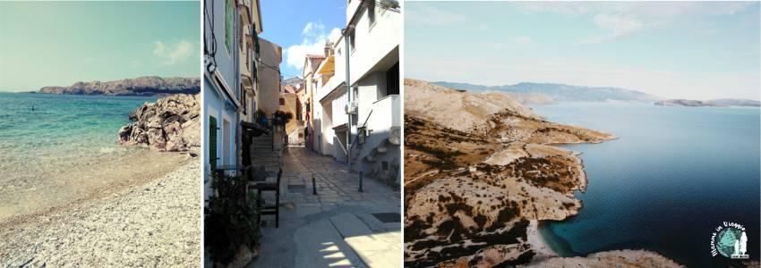La calletta vicino Baška, uno scorcio della città e vista dell'isola di Krk