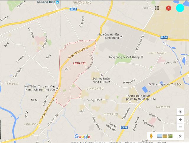 Bản đồ vị trí Phường Linh Tây