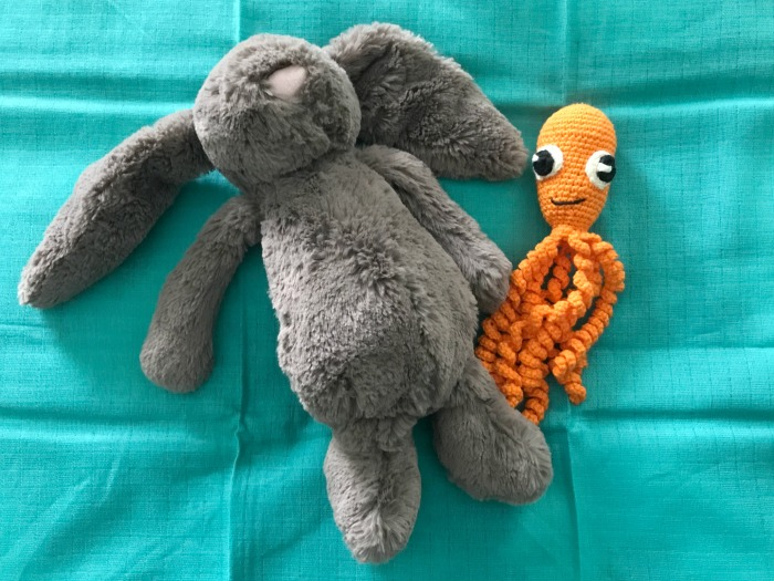 Jellycat teddy and a crocheted octopus