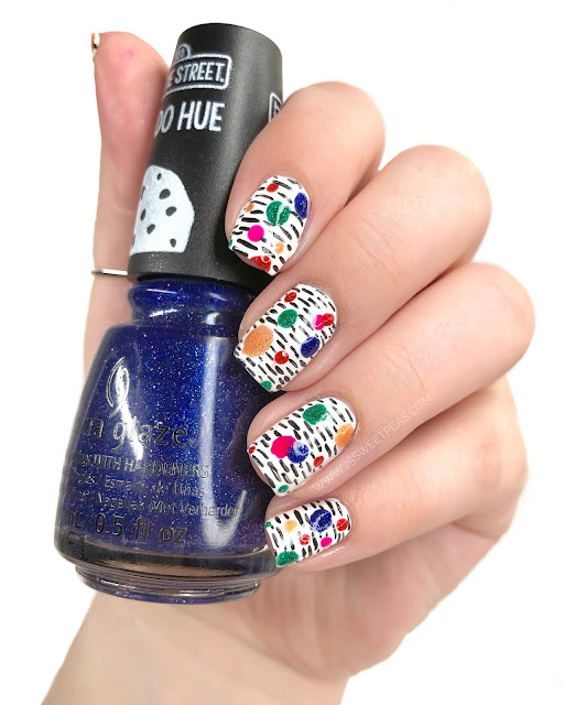 Basic Colored Dots and Dashes Nail Art