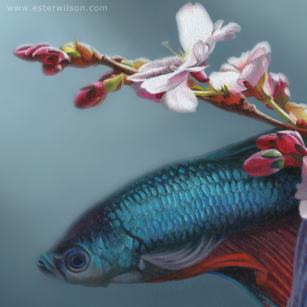 Close up view of the curious fish from my latest painting.