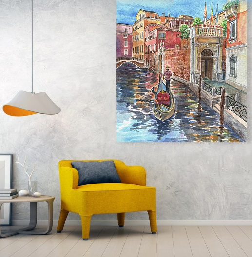 Venice Painting Canal and Gondolier in interior decor